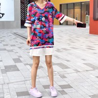 """Adidas"" Loose Casual Personality Multicolor Letter Logo Print Bare Shoulder Short Sleeve V-Neck T-shirt Dress"