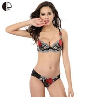 Sexy Lingerie Lace Bra Set  Luxurious Embroidery Push Up Bra 3 Color Size A~D Plus Size Brand Designer Bra Free Shipping WI303