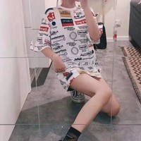 """""""Louis Vuitton""""  Women Clothes Edgy Fashion All-match Cute Casual Simple  Pattern Edgy Letter Short Sleeve Loose T-shirt Dress"""