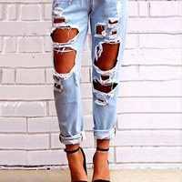 Women Sexy Ripped Jeans Summer 2015 New Fashion Brand Size 26-28 Big Holes Slim Pencil Solid Sknny Washed Demin Pants