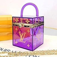 Louis vuitton LV new ladies transparent exquisite box bag handbag jewelry box
