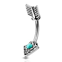 Turquoise Set Tribal Arrow 316L Surgical Steel WildKlass Belly Button Navel Rings
