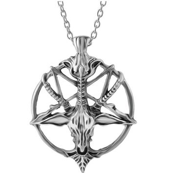 Steampunk Inverted Pentagram Pan God Skull Goat Head Pendant Necklaces Satanism Satanic Occult Metal Choker Necklace Gifts 10