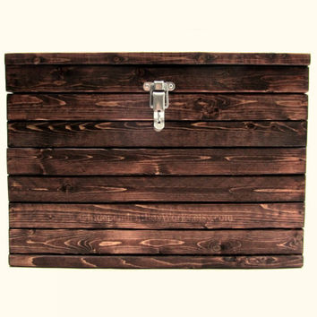Handmade Medium Storage Box - Small Slatted Wooden Trunk with Lockable Latch - Securable Toy Chest - Rustic Wood Crate with Lid