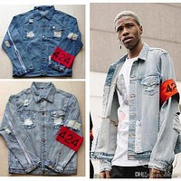 New 424 Four Two Four Jacket Wash Frayed Jean Jacket Tide Brand Men Women's Vintage Blue Jean Coats Teenage Hip Hop Streetwear