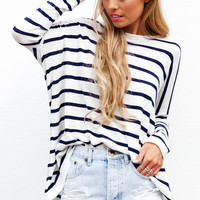 CAMILLE KNIT - long sleeve navy and white stripe knit top