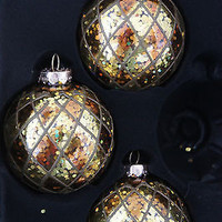 Handcrafted 3 Round Gold & Amber Glass Christmas Ornaments with Diamond Pattern