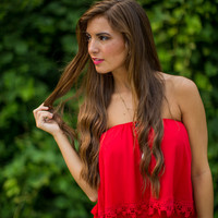 Layered Crochet Top in Red