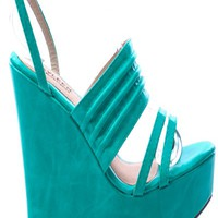 TEAL FAUX LEATHER OPEN TOE ANKLE STRAP PLATFORM WEDGE