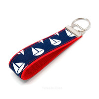 Cute Sailboat Keychain - Preppy Nautical Sail Boat Fabric Key Fob - Great Guys Under 10 Gift - Boating Shore House Summer Accessory