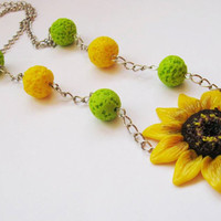 Yellow necklace - Sunflower Necklace - Flower jewelry - Statement Necklace -  Pendant necklace -Bridal Party Necklace - Summer necklace