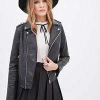 Quilted Faux Leather Moto Jackets
