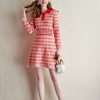 """""""Gucci"""" Women Casual Fashion Multicolor Double G Lapel Long Sleeve Middle Long Section Bodycon Mini Dress"""