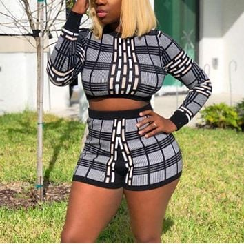 Fashion long sleeve top and shorts two-piece
