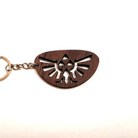 The triforce from Legend of Zelda Wooden Keychain, Legend of Zelda Keychain, Friendly Green materials
