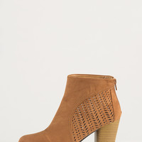 Perforated Ankle Booties - Camel - 10