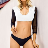 Summer Beach New Fashion Solid Color Long Sleeve Two Piece Bikini Swimsuit White