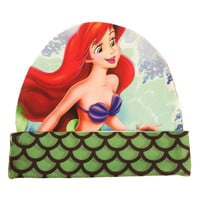 The Little Mermaid Beanie | Disney Princess Ariel | Green Scale Print Hat