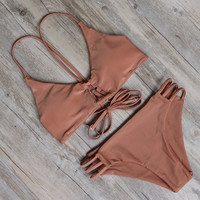 Soild Bandage Bikini Set For Women
