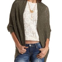 Slub Knit Cocoon Cardigan Sweater by Charlotte Russe - Olive
