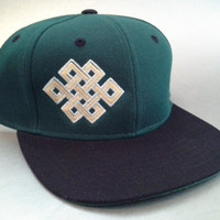 Endless Knot Snapback Hat made to order Celtic Crop Circle design sacred geometry FREE SHIPPING