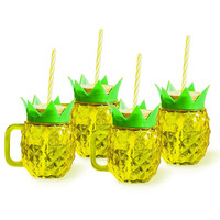 Club Tropicana Pineapple Mason Jar Cups (Set of 4)