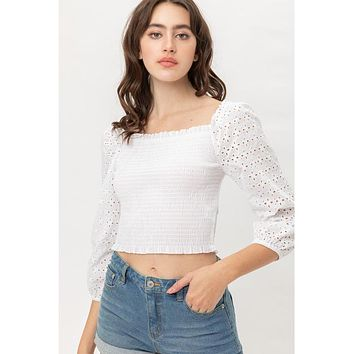 The Eyelet Smocked Top