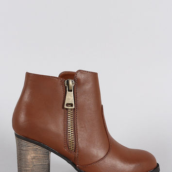 Bamboo Round Toe Zip Up Heeled Ankle Boots