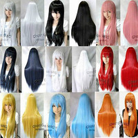 Sexy Fashion New Long Straight Full Hair Wigs Cosplay Costume Party Wig J00