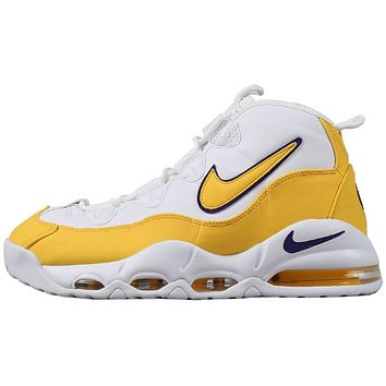 Bunchsun NIKE AIR MAX UPTEMPO 95 Fashion New Hook Men High Top Running Sports Leisure Shoes White&Yellow