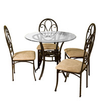 Dark Chocolate Metal Dining Table with Clear Round Glass Tabletop