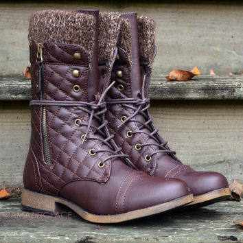 Bonfire Tales Brown Rustic Sweater Boots