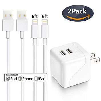 iPhone Charger, Cablex 2.1A/5V Dual Port Wall Charger Travel Adapter with 2 Pack 6FT Lightning to USB Cable Charging Cord Compatible with iPhone X 8 8Plus 7 7Plus SE 6sPlus 6s 6 5s, iPad and More