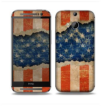The Scratched Surface Peeled American Flag Skin for the HTC One M8