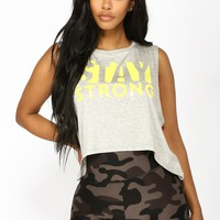 Stay Strong Active Tank Top - Heather Grey
