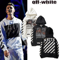 2016 Trending Fashion Cotton Stripes Printed Alphabets Words Hooded Hoodie  Sweater Cardigan Coat Jacket Outerwear Sweatshirt Jumper Shirt Top Blouse _ 10204