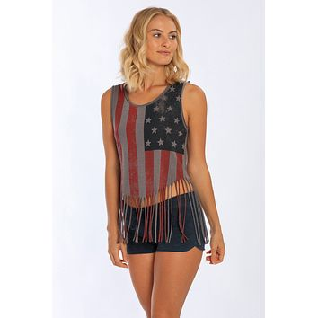 Miami Style® - Shredded  Tank w/ US Flag Print