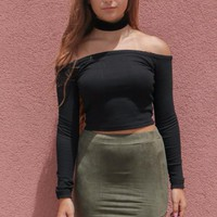 Into You Black Long Sleeve Cold Shoulder Crop Top