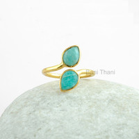 Silver Ring, Amazonite Ring, Gemstone Ring, Amazonite Pear 5x7mm Micron Gold Plated 925 Sterling Silver Ring - #1254
