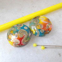 Lampwork Beads, Lampwork Bead Pair, Handmade Glass Beads, Bright Summer Fashion Silvered Jewelry Supplies
