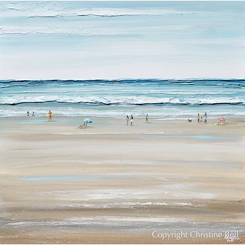 """""""Beach Day"""" SPECIAL RELEASE GICLEE PRINT Art Coastal Abstract Painting Textured Ocean Waves Figurative Beach Goers Blue White"""