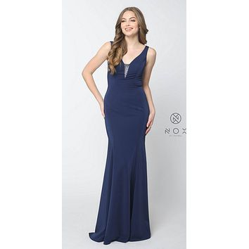 Navy Blue Floor Length Prom Dress Illusion Open Back