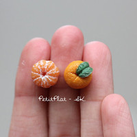 Tangerine Earrings, Miniature Clementine Fruit Jewelry for Fruit Lovers