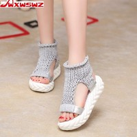 Womens Summer Sandals Knit Ankle Open Toe Casual Shoes