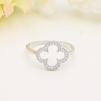 925 sterling silver cubic zirconia lucky clover ring