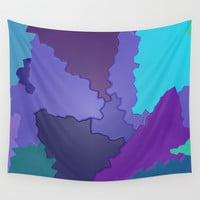 Blues and Purples Puzzle Patchwork Wall Tapestry by Distortion Art