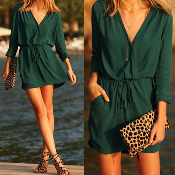 Green V-Neck Drawstring Dress With Pocket