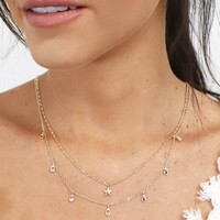 Past Life Dainty Layered Rhinestone Star Necklace