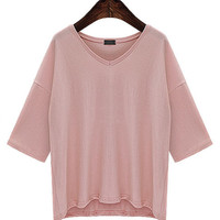 Summer V-neck Three-quarter Sleeve Loose  T-shirt