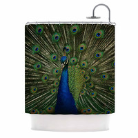 "Angie Turner ""Proud Peacock"" Blue Animals Shower Curtain"